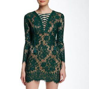 Dress Forum Green Lace-Up Long Sleeve Dress